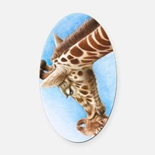 Giraffe and Calf Galaxy 2 Case Oval Car Magnet