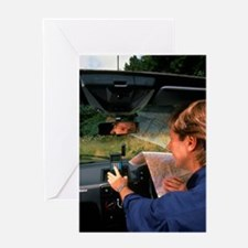 Car driver using hand-held GPS recei Greeting Card