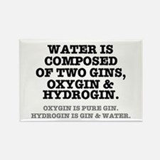 WATER IS COMPOSED OF TWO GINS - O Rectangle Magnet