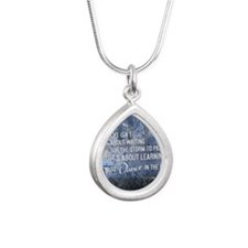 2013 Life Isnt About Wai Silver Teardrop Necklace