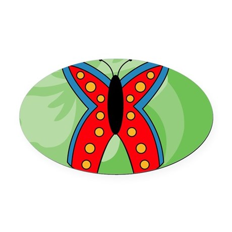 Butterfly Rectangular Hitch Cover Oval Car Magnet