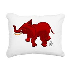 Red Elephant Rectangular Canvas Pillow