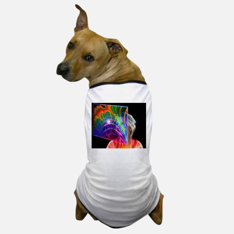 Child looking at holographic image Dog T-Shirt