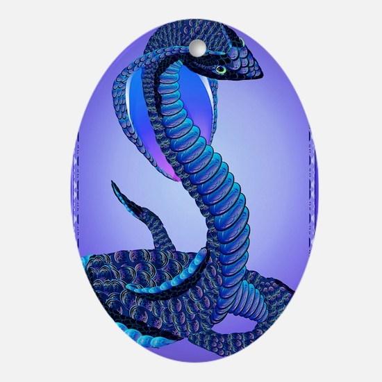 A Big Blue Snake Oval Ornament