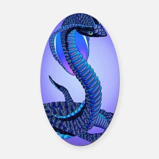 A Big Blue Snake Oval Car Magnet