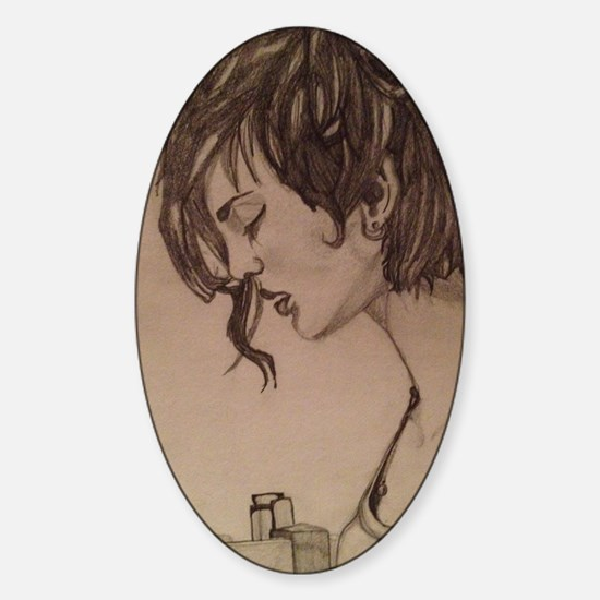 lonely girl Sticker (Oval)