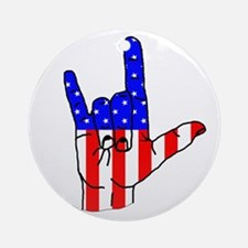 I Love USA Sign Language hand Ornament (Round)