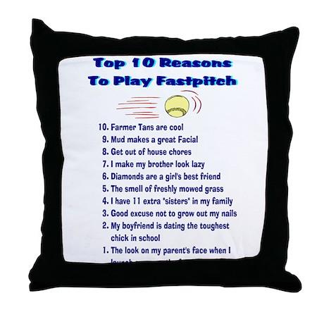Fastpitch Top 10 Throw Pillow