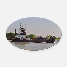Tugboat With Barge Carrying A Pick Oval Car Magnet