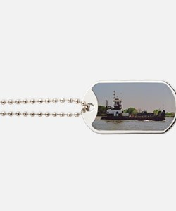 Tugboat With Barge Carrying A Pickup Truc Dog Tags