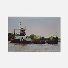 Tugboat With Barge Carrying A Pic Rectangle Magnet