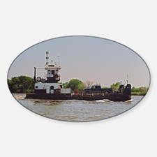 Tugboat With Barge Carrying A Picku Sticker (Oval)