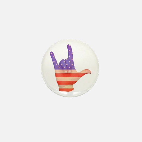 USA Flag ILY sign language hand Mini Button