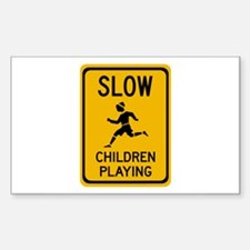 Slow, Children Playing - USA Rectangle Decal