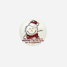 Snow Man Smiley Mini Button
