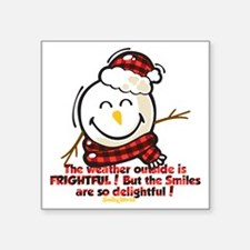 "Snow Man Smiley Square Sticker 3"" x 3"""