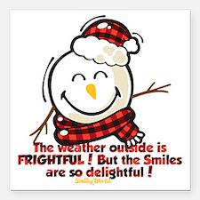 "Snow Man Smiley Square Car Magnet 3"" x 3"""