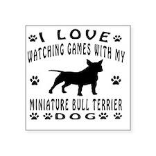 "Miniature Bull Terrier Dog  Square Sticker 3"" x 3"""