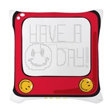 Etch a nice day Smiley Woven Throw Pillow