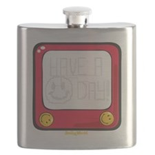 Etch a nice day Smiley Flask