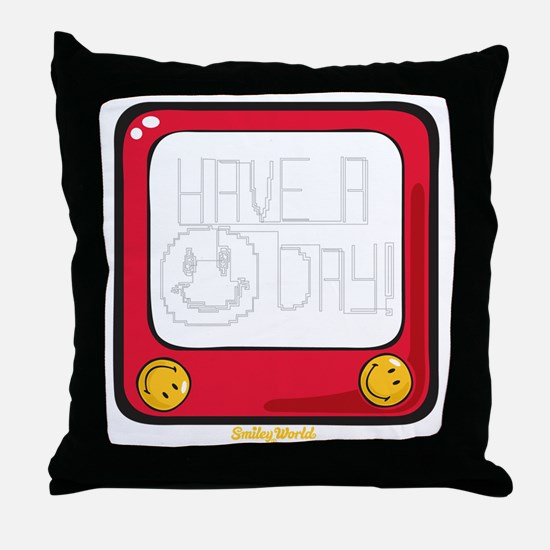 Etch a nice day Smiley Throw Pillow