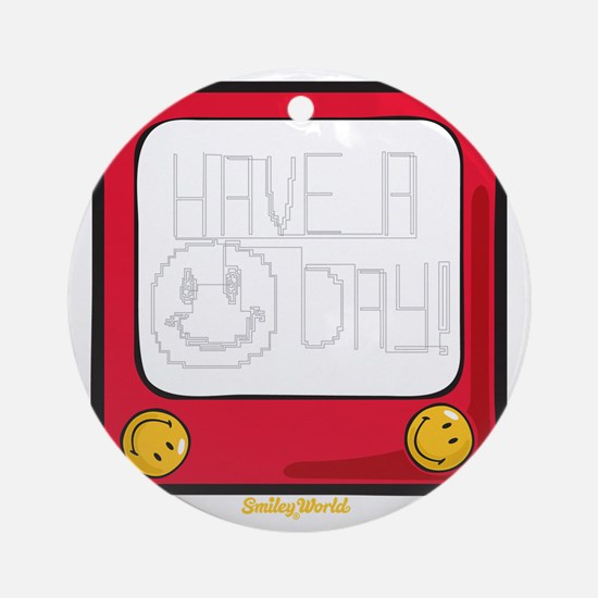 Etch a nice day Smiley Round Ornament