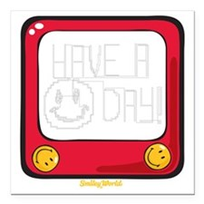 """Etch a nice day Smiley Square Car Magnet 3"""" x 3"""""""
