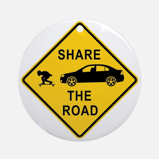 share the road sign Round Ornament