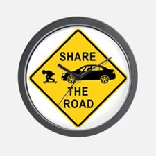 share the road sign Wall Clock