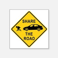 "share the road sign Square Sticker 3"" x 3"""
