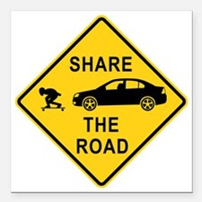 """share the road sign Square Car Magnet 3"""" x 3"""""""