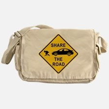 share the road sign Messenger Bag