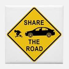 share the road sign Tile Coaster