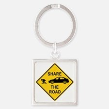 share the road sign Square Keychain