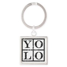 Yolo Distressed 2 Square Keychain