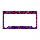Purple zebra License Plate Frames