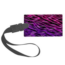 Colorful pink  purple fur zebra  Luggage Tag