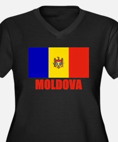 Moldova Flag Women's Plus Size V-Neck Dark T-Shirt