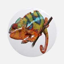 Yellow Chameleon on Stick Round Ornament