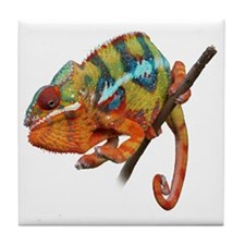 Yellow Chameleon on Stick Tile Coaster