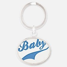 Blue Baby Text swash Oval Keychain