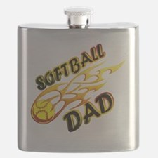 Softball Dad (flame) copy Flask