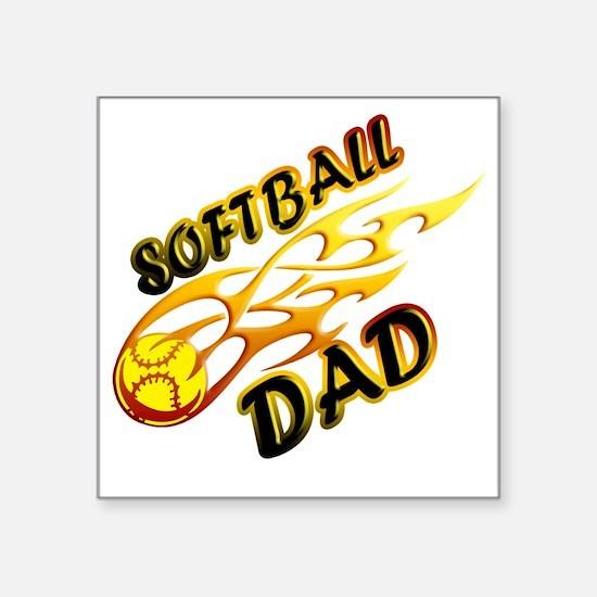 """Softball Dad (flame) copy Square Sticker 3"""" x 3"""""""