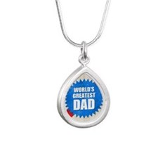 Worlds Greatest Dad Silver Teardrop Necklace