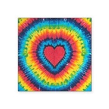 "Colorful tie dye heart Square Sticker 3"" x 3"""
