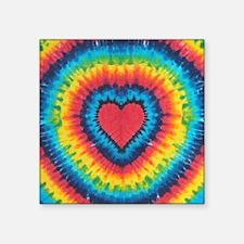 "Colorful tie dye heart Square Sticker 3"" x 3"""