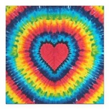 """Colorful tie dye heart Square Car Magnet 3"""" x 3"""""""