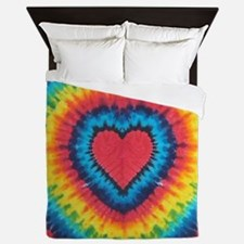 Colorful tie dye heart Queen Duvet