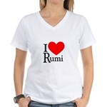 I Love Rumi Women's V-Neck T-Shirt