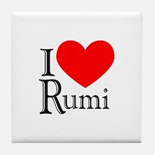 I Love Rumi Tile Coaster